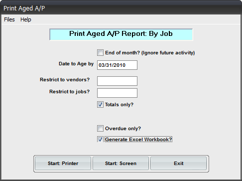 AP Aging by Job Workbook Reporting Add-on