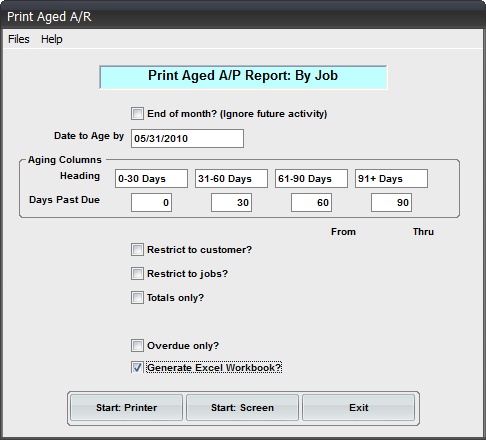 AR Aging by Job Workbook Reporting Add-on