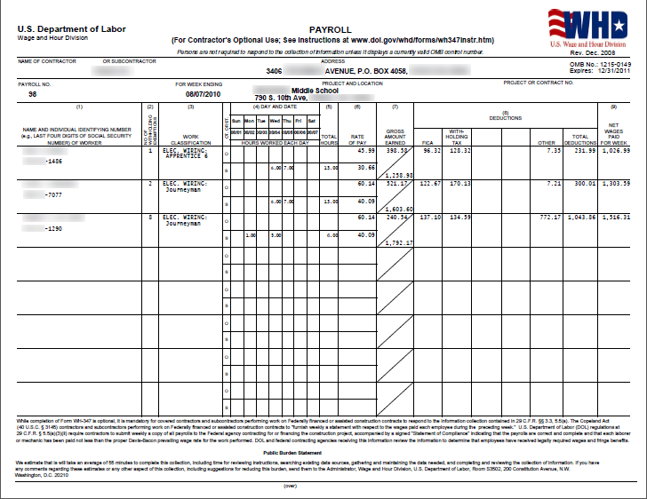 Contractor Accounting Federal Certified Payroll Report Sample